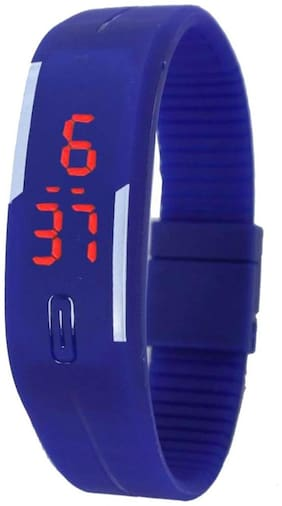 Led Digital Blue Women Rubber Watches
