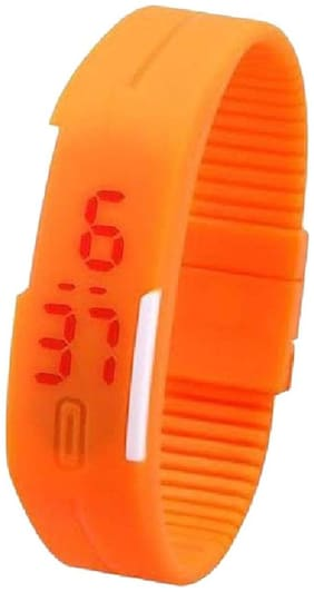 Led Digital Orange Women Rubber Watches(Pack of 5)