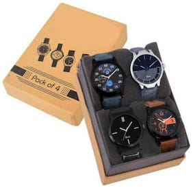 Leveret New Arrival Studded Collection Combo Pack Of 4 Men's Watches