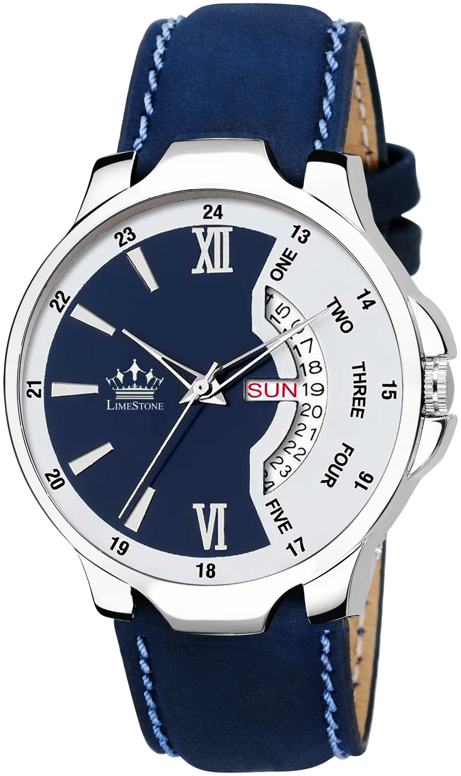 LimeStone Leather Strap Day and Date Functioning Quartz Watch for Men