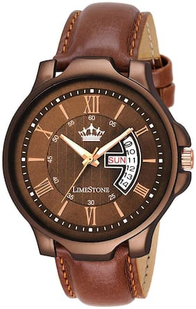 LimeStone Wood Coat Avatar Day and Date Analog Watch fro Men/Boys