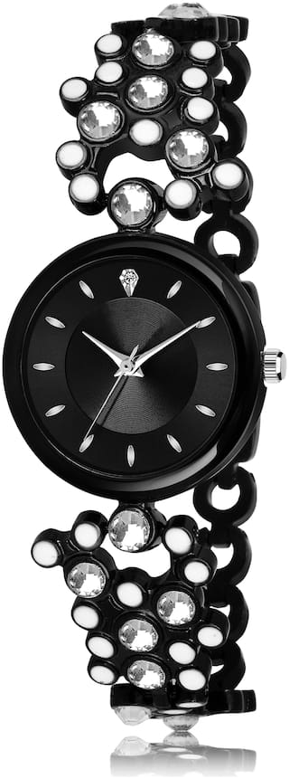 LIMITED BRASS DIAMOND STUDDED FULLY BLACK COLOR ANALOGUE DIAL WITH BLACK COLOR FANCY HONEY COMB DESIGNER FANCY METAL STRAP FAST SELLING TRACK DESIGNER WRIST WATCH FOR GIRLS & WOMEN