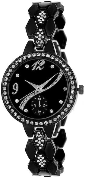 Locate New Designer Fancy Look Metal Starp Black Analog Watch
