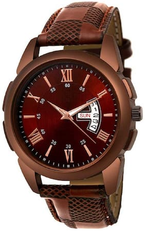 Locate New Design Day And Date Fogg Brown Belt Naalog Watch