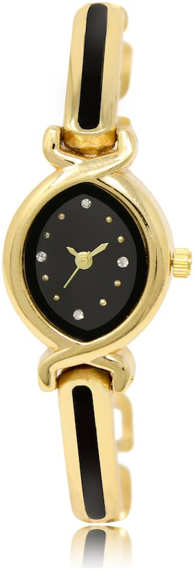 Locate New Design Oval Black Bangles Style Analog Watch