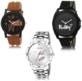 LOREM LK-01-31-103 Day & Date Function New Stylish & Precious Design Pack of 3 Men watches
