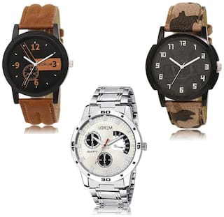 LOREM LK-01-03-101 Multicolor Color New Stylish & Precious Design Pack of 3 Men watches