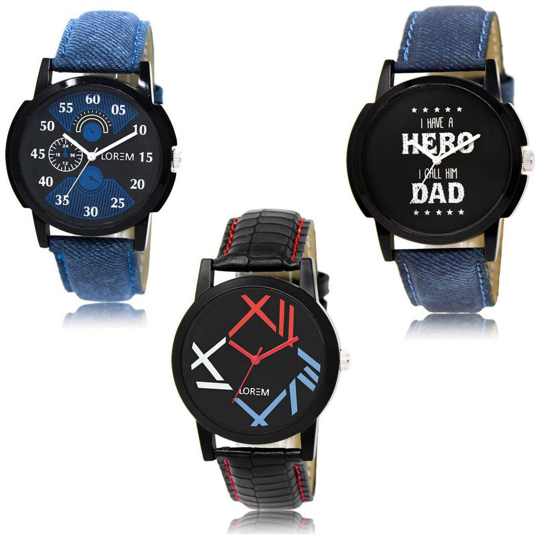 LOREM LK 02 07 12 Multi Color Exclusive Designer Pack of 3 For Men watches by Kaya