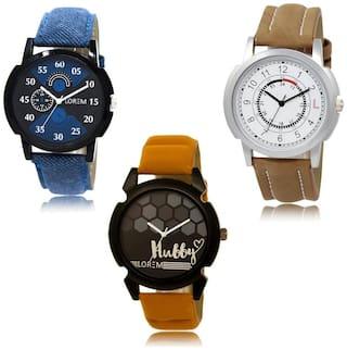 LOREM LK-02-17-32 Multi Color New Stylish & Precious Design Pack of 3 Men watches
