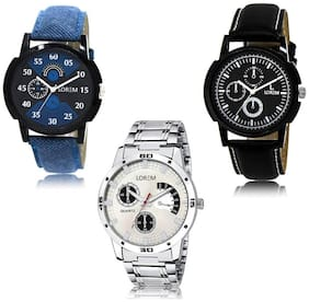 LOREM LK-02-13-101 Multi Color Exclusive Designer Pack of 3 For Men watches