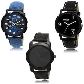LOREM LK-02-06-22 Black Color New Stylish & Precious Design Pack of 3 Men watches