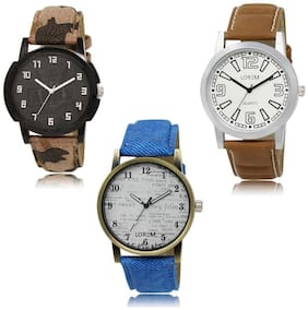 LOREM LK-03-15-28 Multi Color New Stylish & Precious Design Pack of 3 Men watches