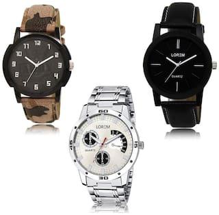 LOREM LK-03-05-101 Multi Color New Stylish & Precious Design Pack of 3 Men watches