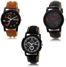 LOREM LK-04-08-13 Black Color New Stylish & Precious Design Pack of 3 Men watches