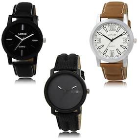 LOREM LK-05-15-21 Multi Color New Stylish & Precious Design Pack of 3 Men watches