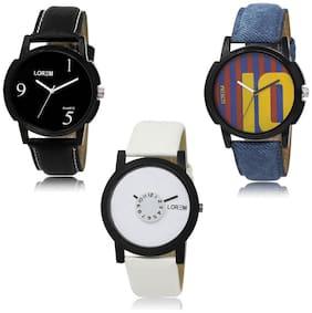 LOREM LK-06-10-26 Multi Color New Stylish & Precious Design Pack of 3 Men watches