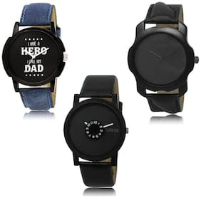 LOREM LK-07-22-25 Black Color New Stylish & Precious Design Pack of 3 Men watches