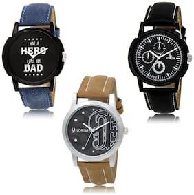 LOREM LK-07-13-14 Multi Color Exclusive Designer Pack of 3 For Men watches