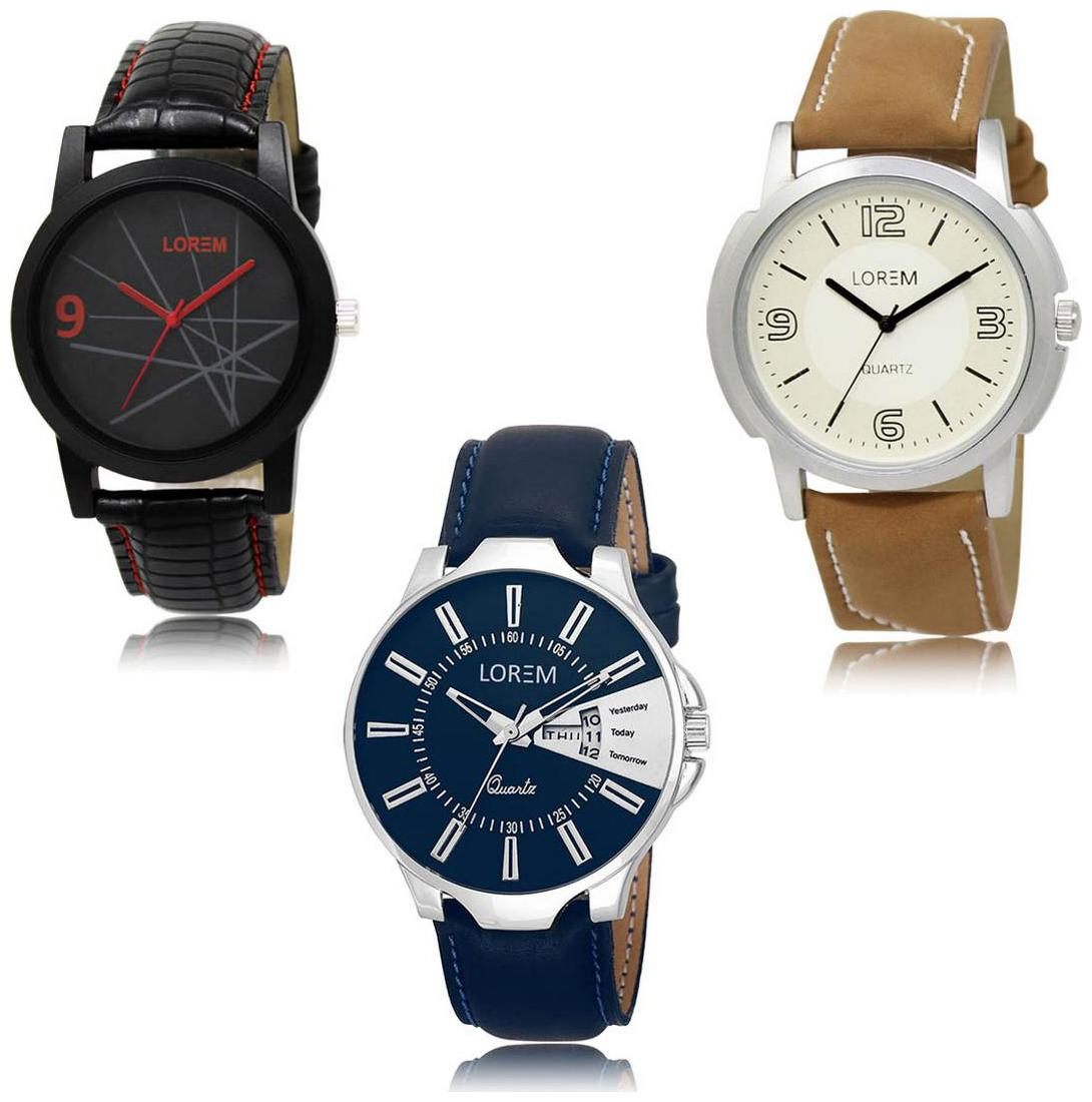 LOREM LK-08-16-23 Day Date Function New Stylish Precious Design Pack of 3 Men watches