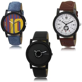 LOREM LK-10-11-25 Multi Color New Stylish & Precious Design Pack of 3 Men watches