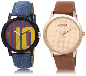 LOREM LR10-34 Multicolor Round Boy's Leather Wrist Watch
