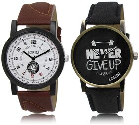 LOREM LR11-27 Multicolor Round Boy's Leather Wrist Watch
