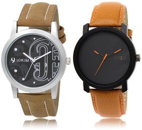 LOREM LR14-20 Black Round Boy's Leather Wrist Watch