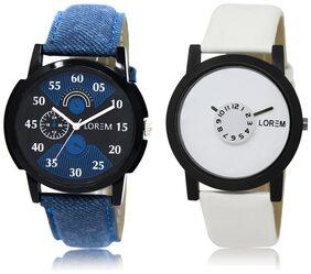 LOREM LR2-26 White & Black Round Boy's Leather Wrist Watch