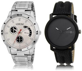 LOREM LR21-101 Black & Silver Round Boy's Leather & Metal Bracelet Wrist Watch