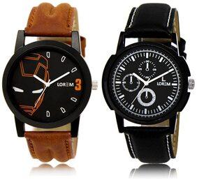 LOREM LR4-13 Multicolor Round Boy's Leather Wrist Watch