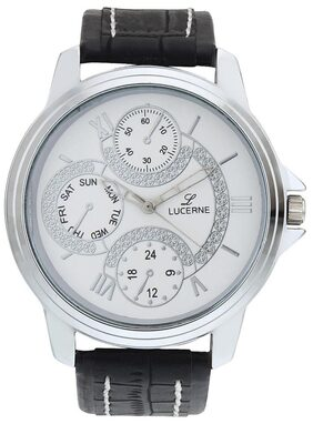 Lucerne White Dial Analog With Black Strap Wrist Watch For Men . Diwali Gift .