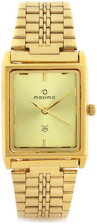 Maxima 06100CMGY Gold Rectangular Analog Watch