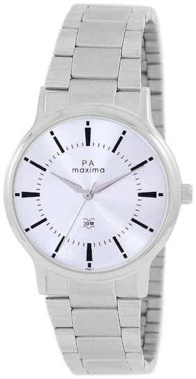 Maxima Casual Stainless Steel Silver Analog Watch For Men