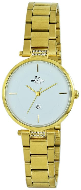 Maxima Casual Stainless Steel Gold Analog Watch For Women