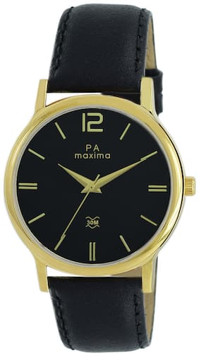 Maxima Casual Leather Black Analog Watch For Men