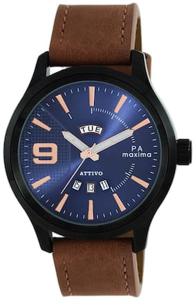 Maxima Casual Leather Brown Analog Watch For Men