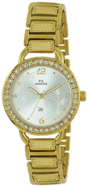 Maxima Casual Brass Gold Analog Watch For Women