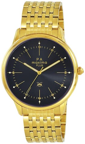 Maxima Casual Stainless Steel Gold Analog Watch For Men