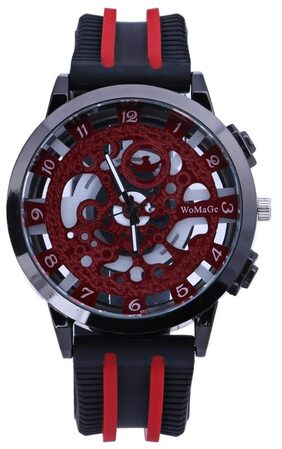 Men Hollow Out Quartz Watches Leather Silicone Wristwatch (Red)