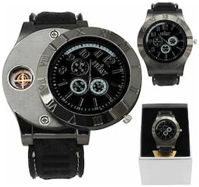 Men Military Style Cigarette Lighter Watch with Build In Rechargeable  Cigarette