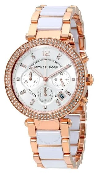 dd2e6be75 Michael Kors Ladies Parker Rose Gold & Ceramic Chronograph Designer Watch  MK5774