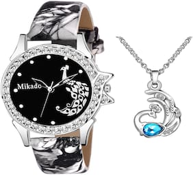 Mikado Peacock Dial Watch And Sliver Peacock  FREE Pendant For Women And Girls