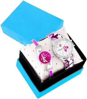 Mikado Pink Alice Watch Comb Set Analog Watch For Women