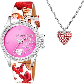 Mikado Pink Adorable  Analog Watch Free Pendant - For Women