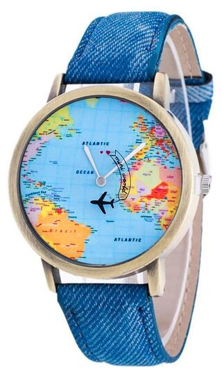 Mini World Map.Buy Mini World Map With Moving Airplane Analog Watch By Calvin