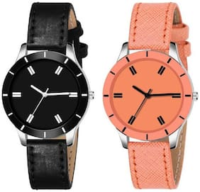 Miss perfect .Combo pack of 2 Girls Stylish Cut Glass Blue And Brown Watch For Women Analog Watch