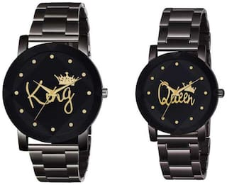 Miss Perfect Crystal-King-Queen BD-Chain-Couple Premium Quality Designer Fashion Wrist Analog Watch