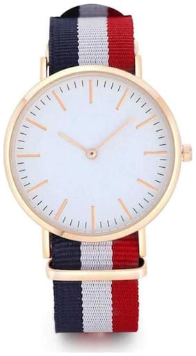 Miss Perfect New White Dial Blue White Red Color Strap Boys Watch For Men Analog Watch