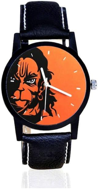 MISS PERFECT Hanuman Print Dial Black Leather Belt Watch For Boys & Girls Watch