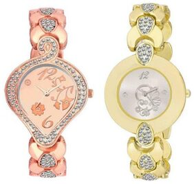 Miss Perfect  Rose GOld Ad and Gold Round Ad K187N12 p Watch - For Girls